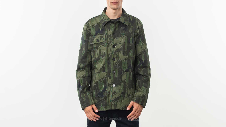 Jakne MAISON KITSUNÉ All Over Dream Amplifier Worker Jacket Khaki Print