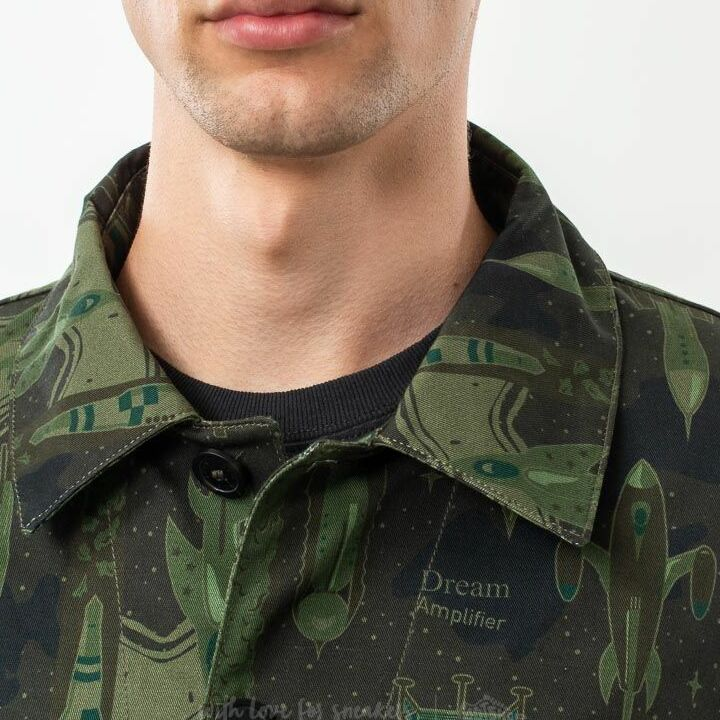 MAISON KITSUNÉ All Over Dream Amplifier Worker Jacket Khaki Print, Green