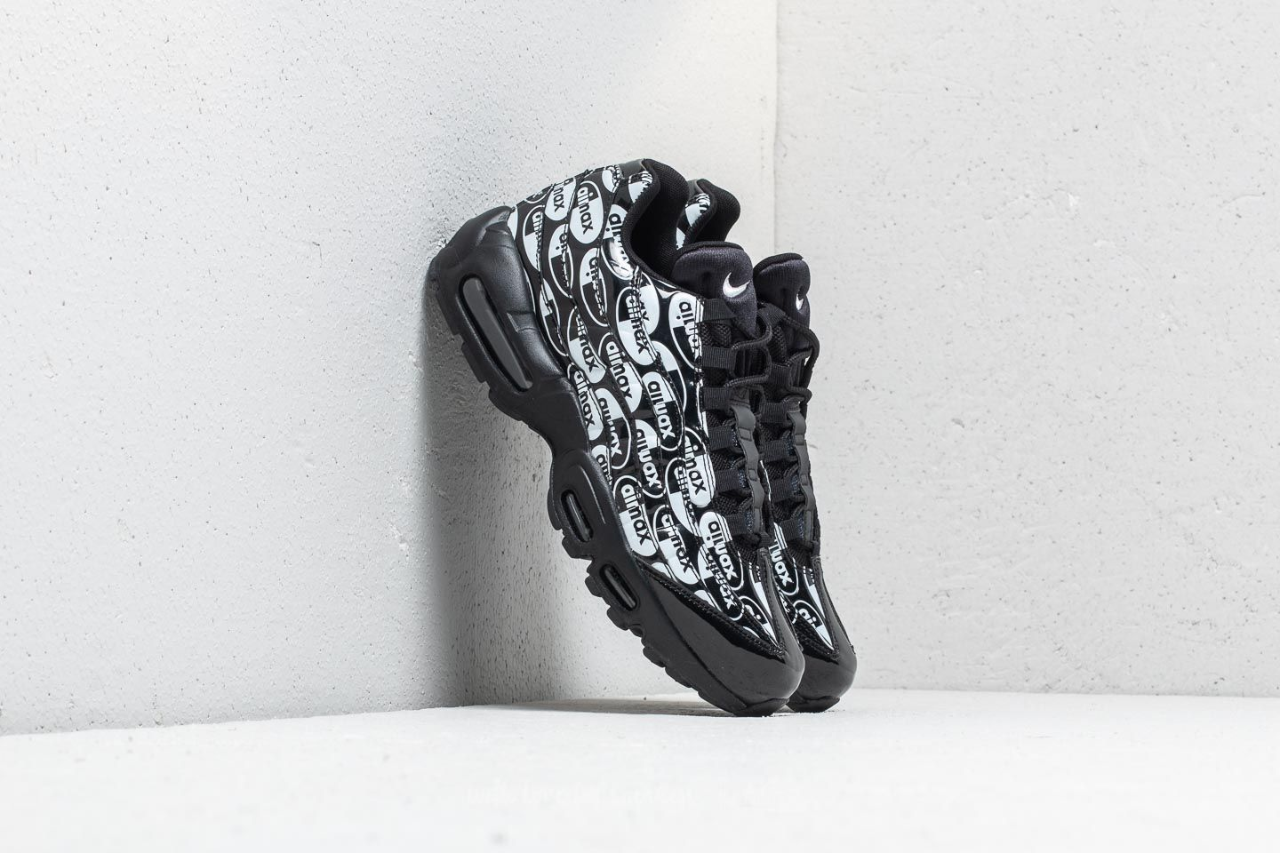 "new products cf069 fe455 Nike Air Max 95 Premium ""All Over Logo"" Black  Black-White at"
