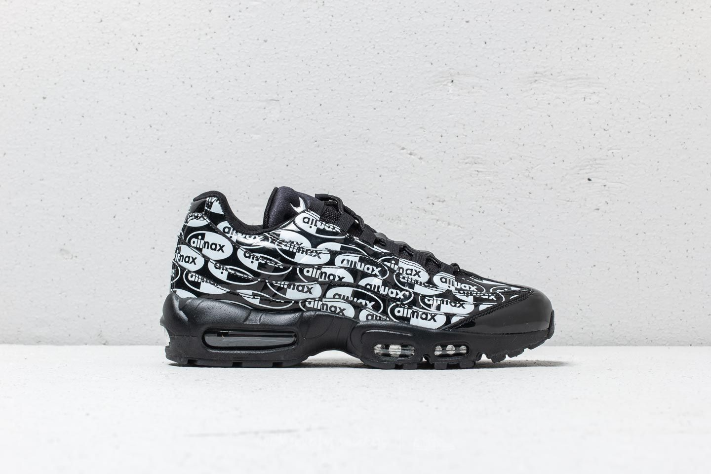 "new products bd956 35c84 Nike Air Max 95 Premium ""All Over Logo"" Black  Black-White at"