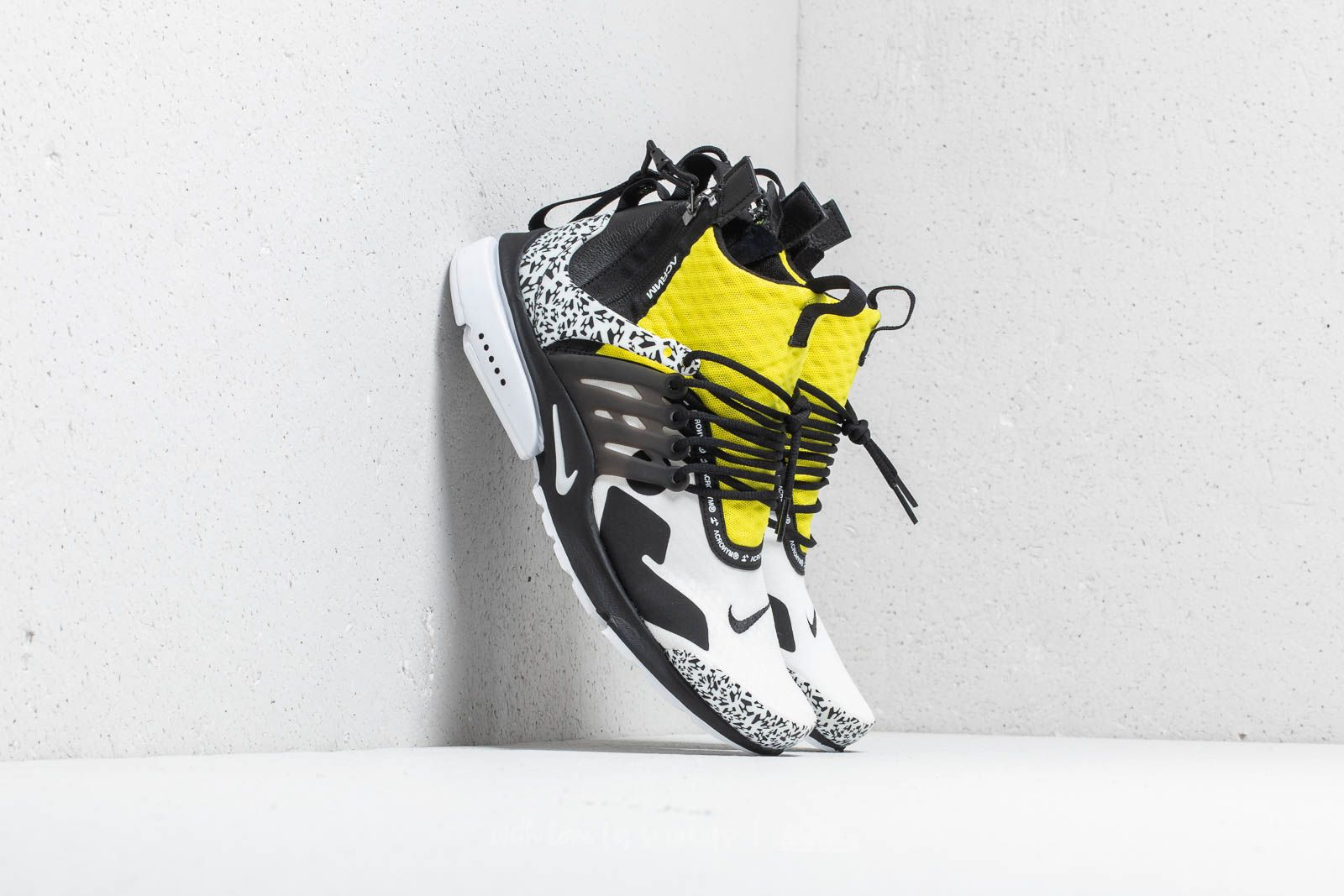 hot sale online bc706 8b61c Nike x Acronym Air Presto Mid White  Black-Dynamic Yellow at a great price