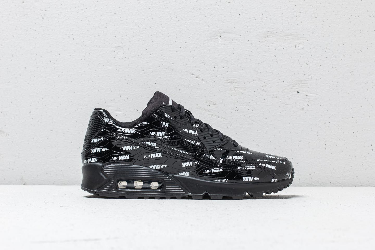 "61a2e17420918 Nike Air Max 90 Premium ""All Over Logo"" Black  Black-White at"