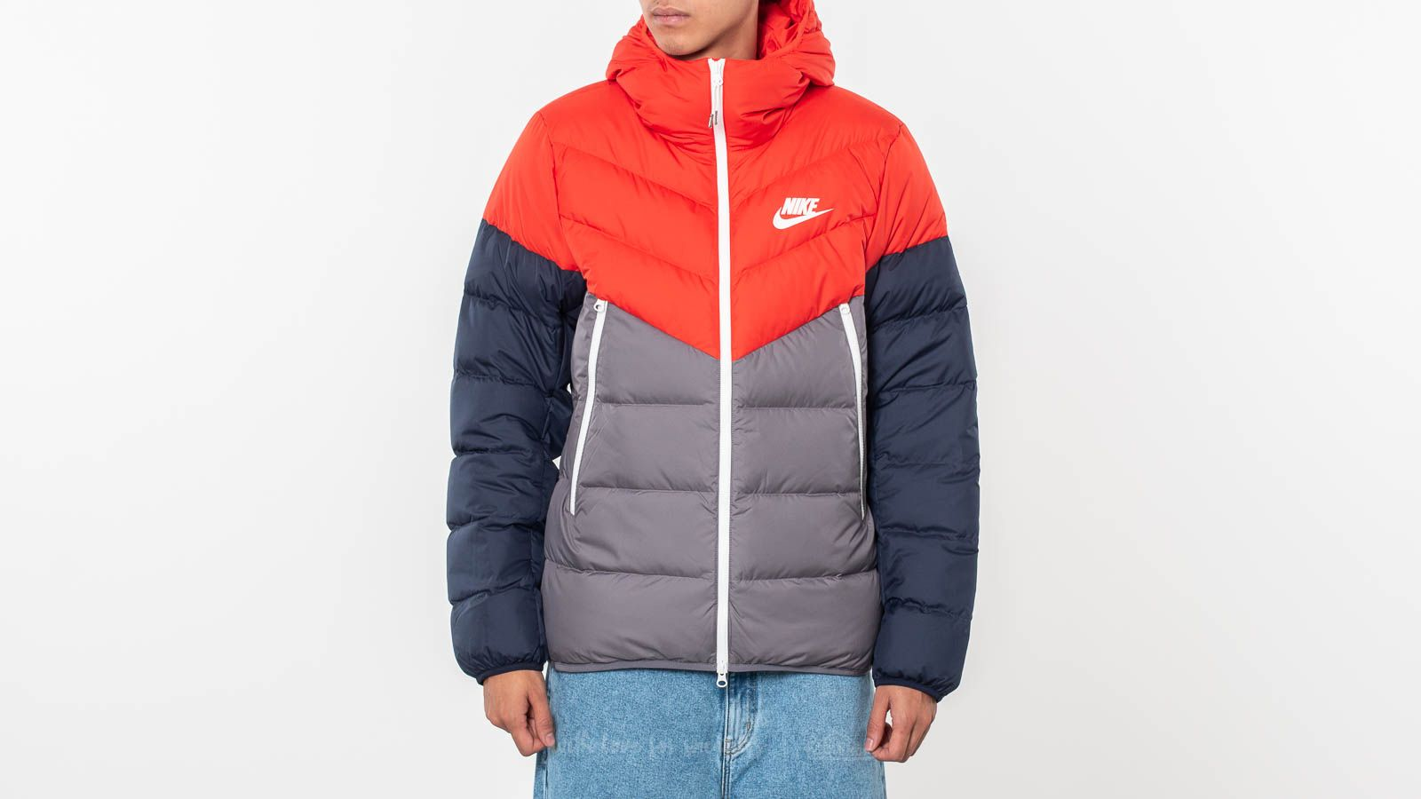 045108a49 Nike Sportswear Down Filled Hooded Windrunner Red/ Gun Smoke/ Sail ...