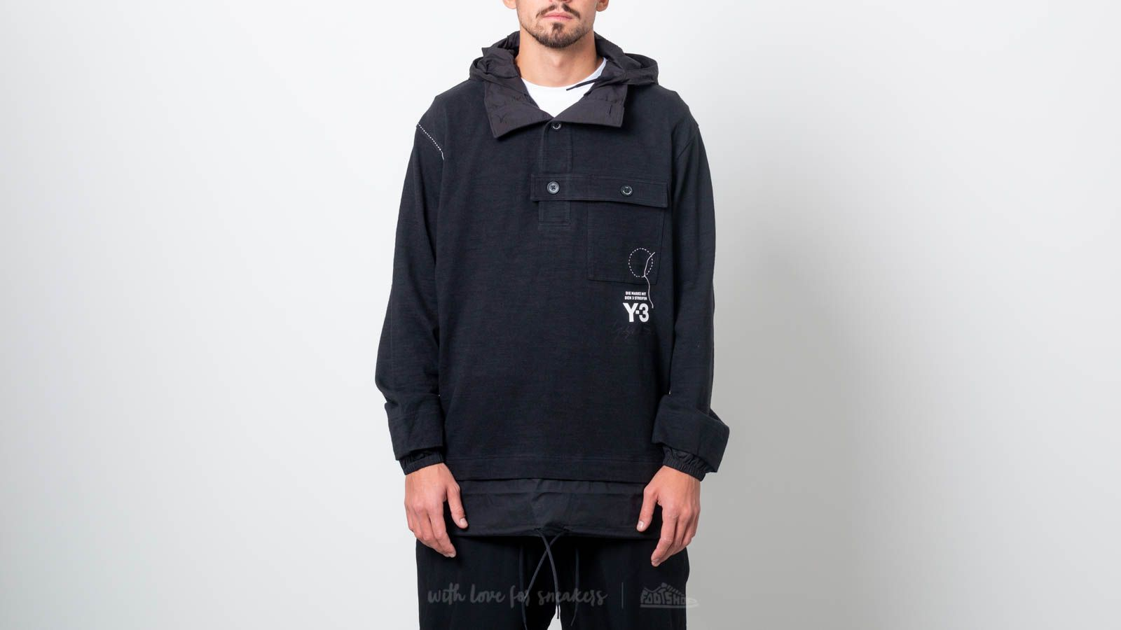 Y-3 Sashiko Layered Hoodie Black at a great price $344 buy at Footshop
