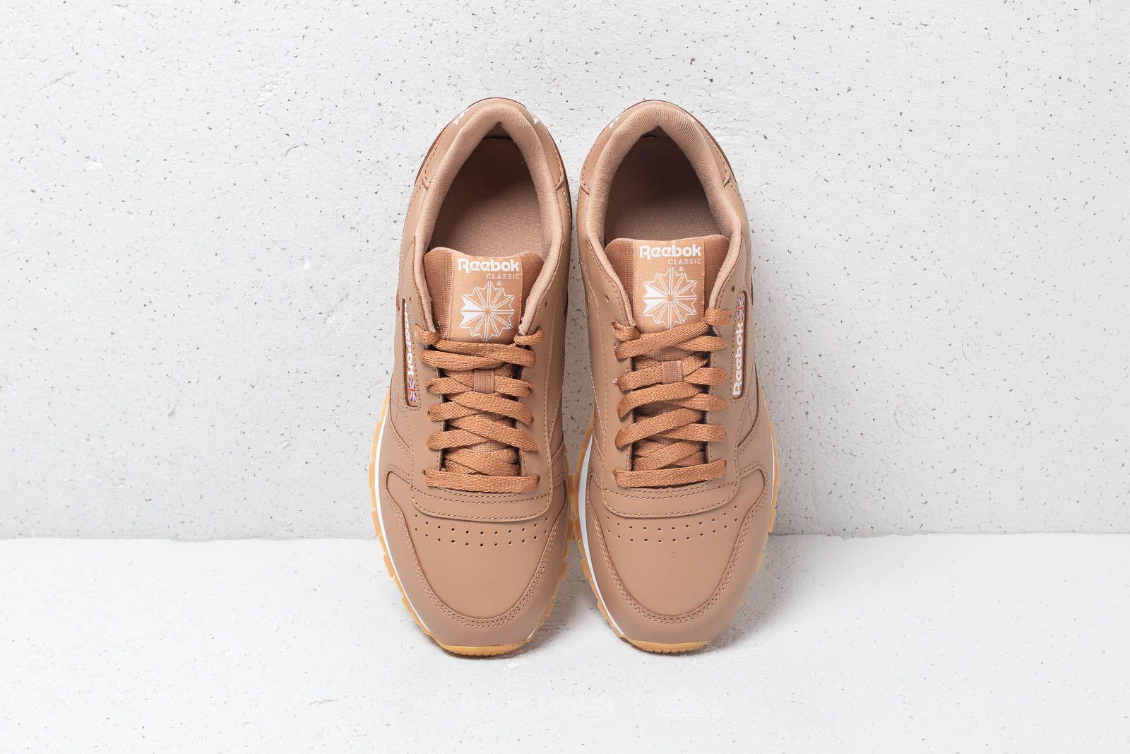 Rebobinar flaco Fiel  Men's shoes Reebok CL Leather MU Soft Camel/ White/ Gum