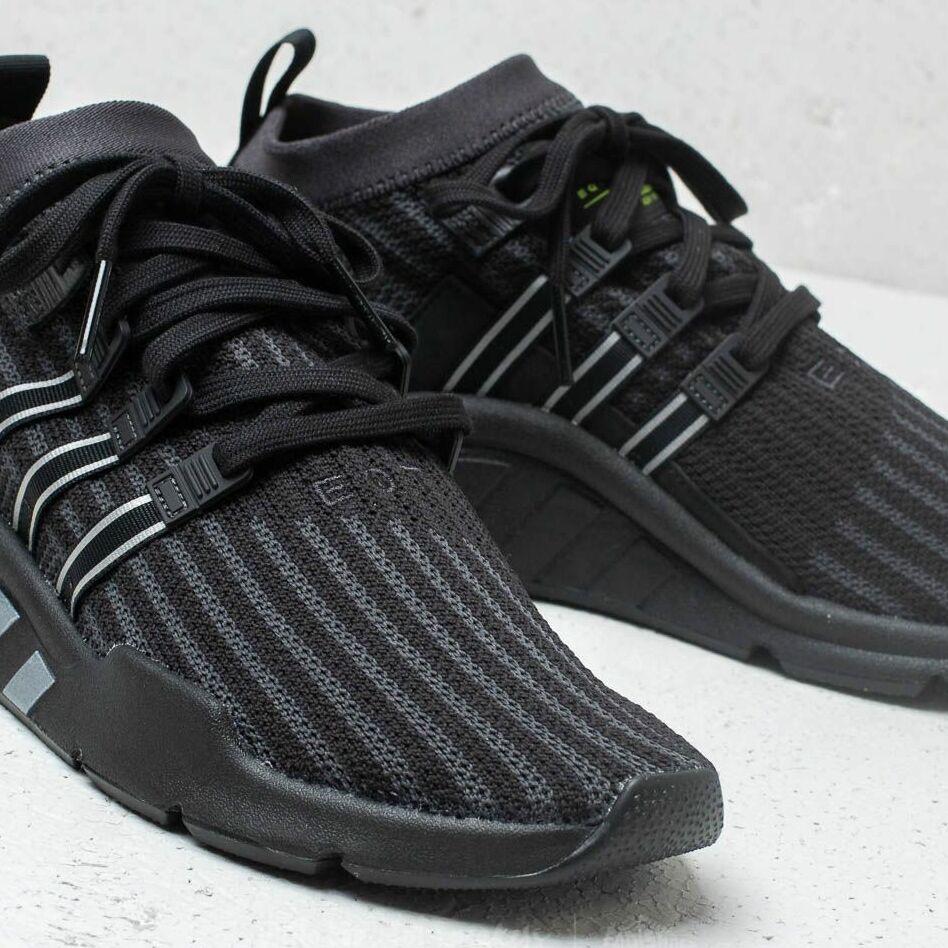 sports shoes d62cd e9e84 adidas EQT Support MID ADV Primeknit Core Black/ Carbon/ Solar Yellow