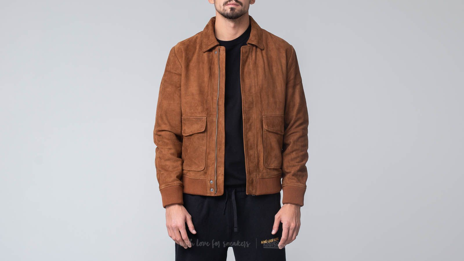 Bundy SELECTED Pilot Suede Jacket Weather Brown