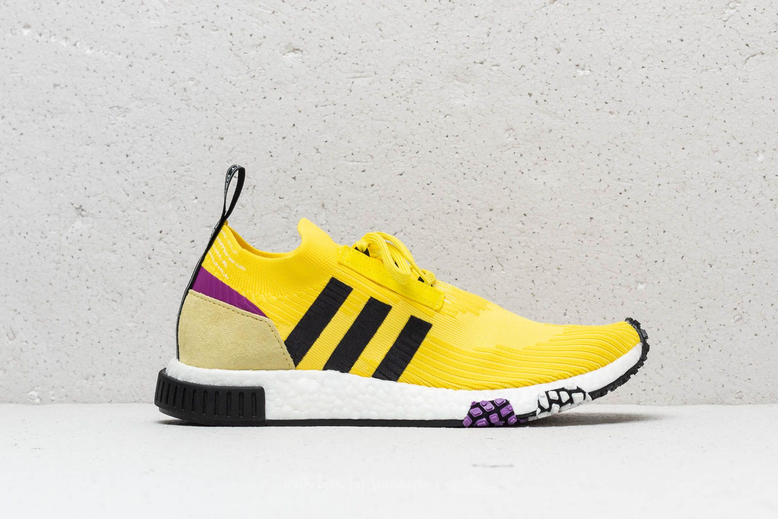 74255b7f3ab0a adidas NMD Racer Primeknit Solar Yellow  Core Black  Shock Purple at a  great price