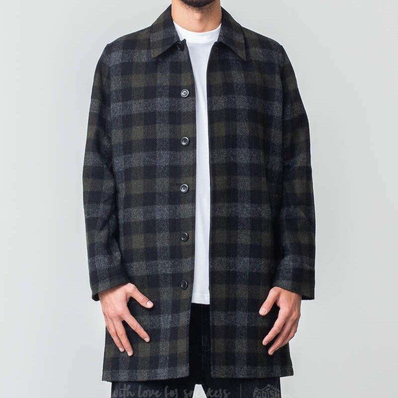 Norse Projects Thor Wool Check Coat Magnet Grey