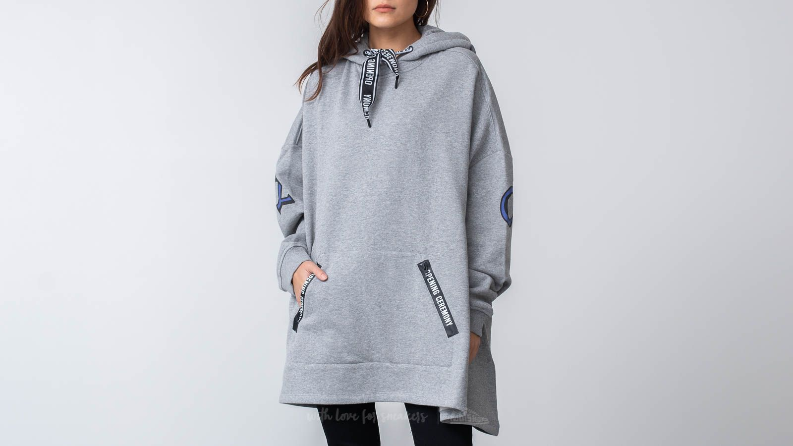 Men's Clothing Opening Ceremony Poncho Hoodie Grey Heather