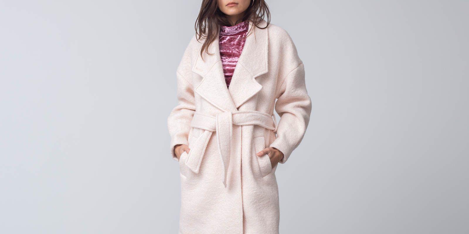 SELECTED Paja Wool Coat Sand Dollar, Pink
