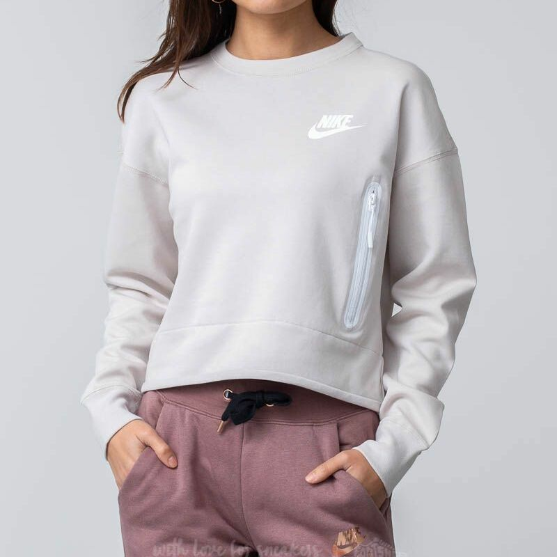 Nike Sportswear Tech Fleece Crewneck Top Desert Sand, White
