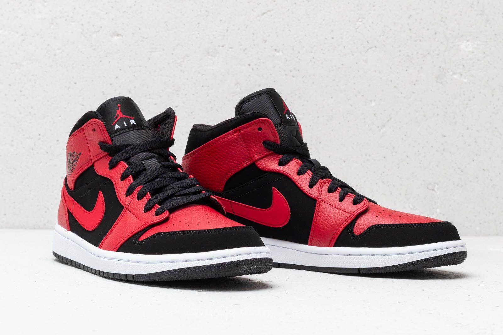 half off 778a9 047f0 Air Jordan 1 Mid Black/ Gym Red-White | Footshop