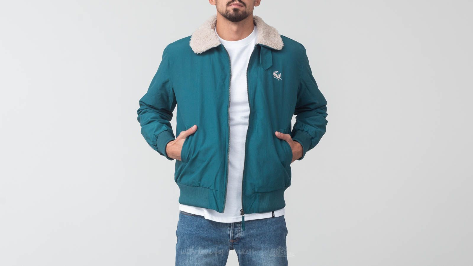 by Parra Topper Harley Scared Fox Jacket Deep Sea Green  c3f47e523