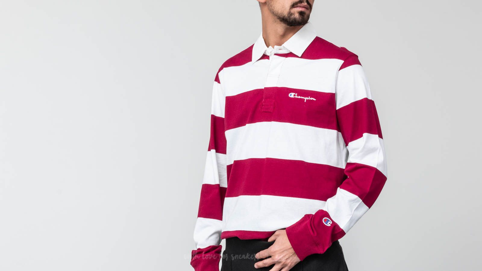 3b419b08 Champion Longsleeve Polo Tee Burgundy/ White at a great price 49 € buy at  Footshop