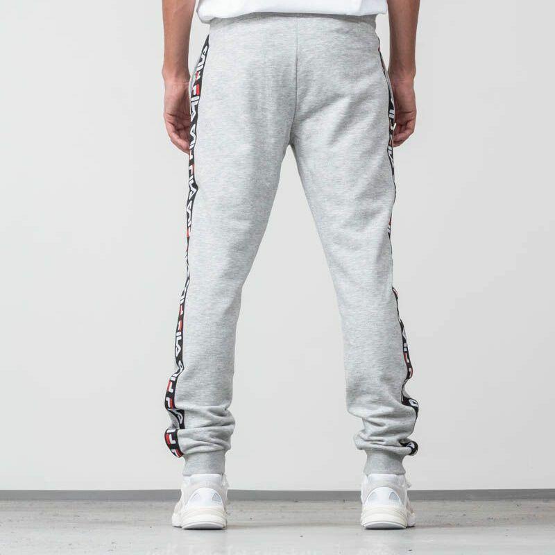FILA Men Tadeo Tape Sweat Pants Light Grey Melange Bros, Gray