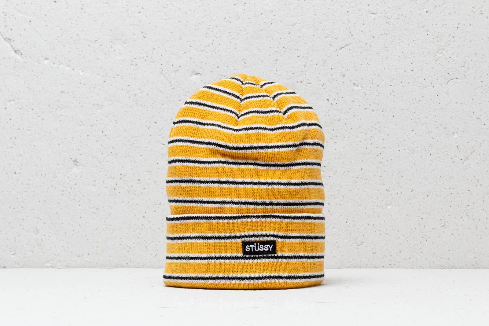 a5d8fafc28dd Stüssy Striped Fa18 Cuff Beanie Yellow | Footshop