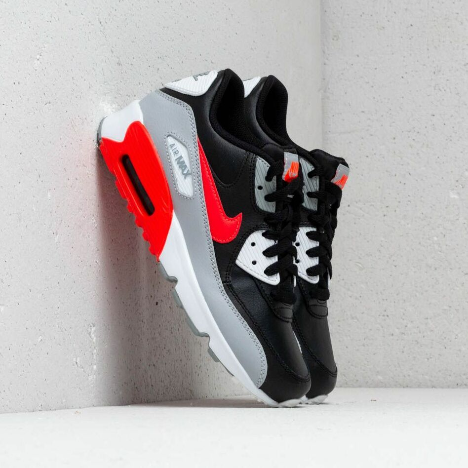 Nike Air Max 90 Leather (GS) Wolf Grey/ Bright Crimson-Black EUR 36.5