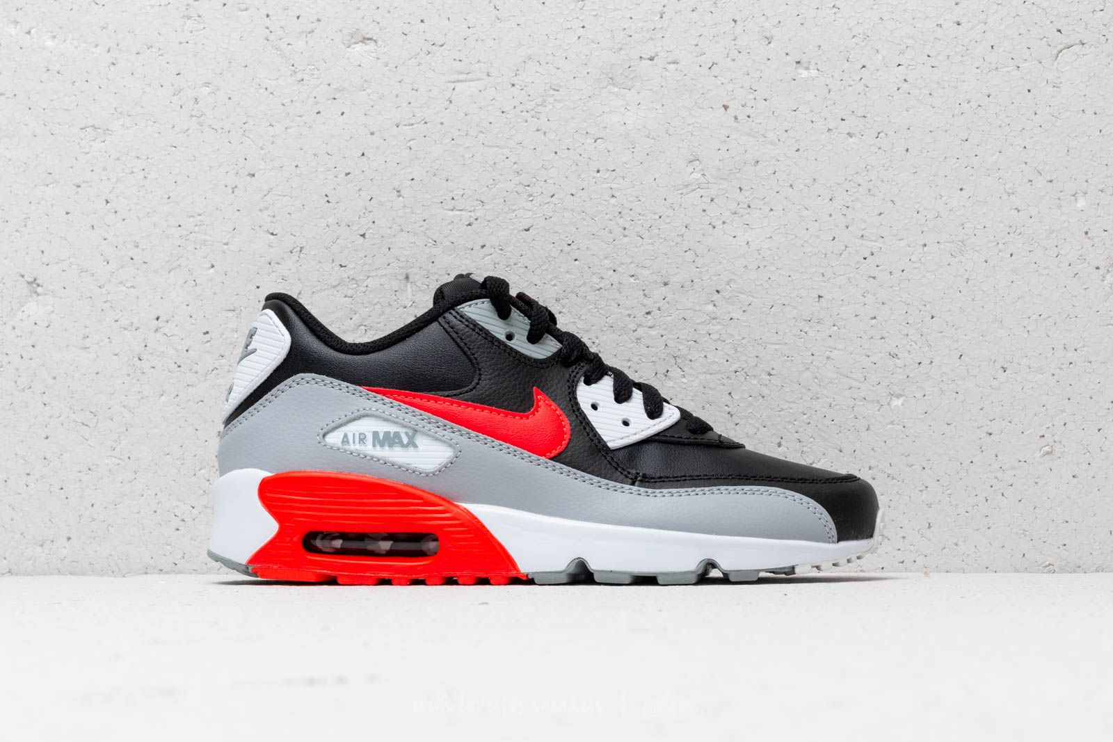 new concept 1aa60 ca1d4 Nike Air Max 90 Leather (GS) Wolf Grey  Bright Crimson-Black at