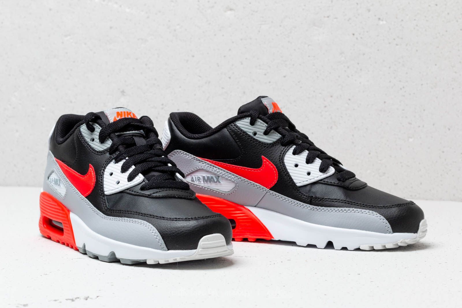 brand new ccd14 7597d ... reduced nike air max 90 leather gs wolf grey bright crimson black at  c37b9 cf792 ...