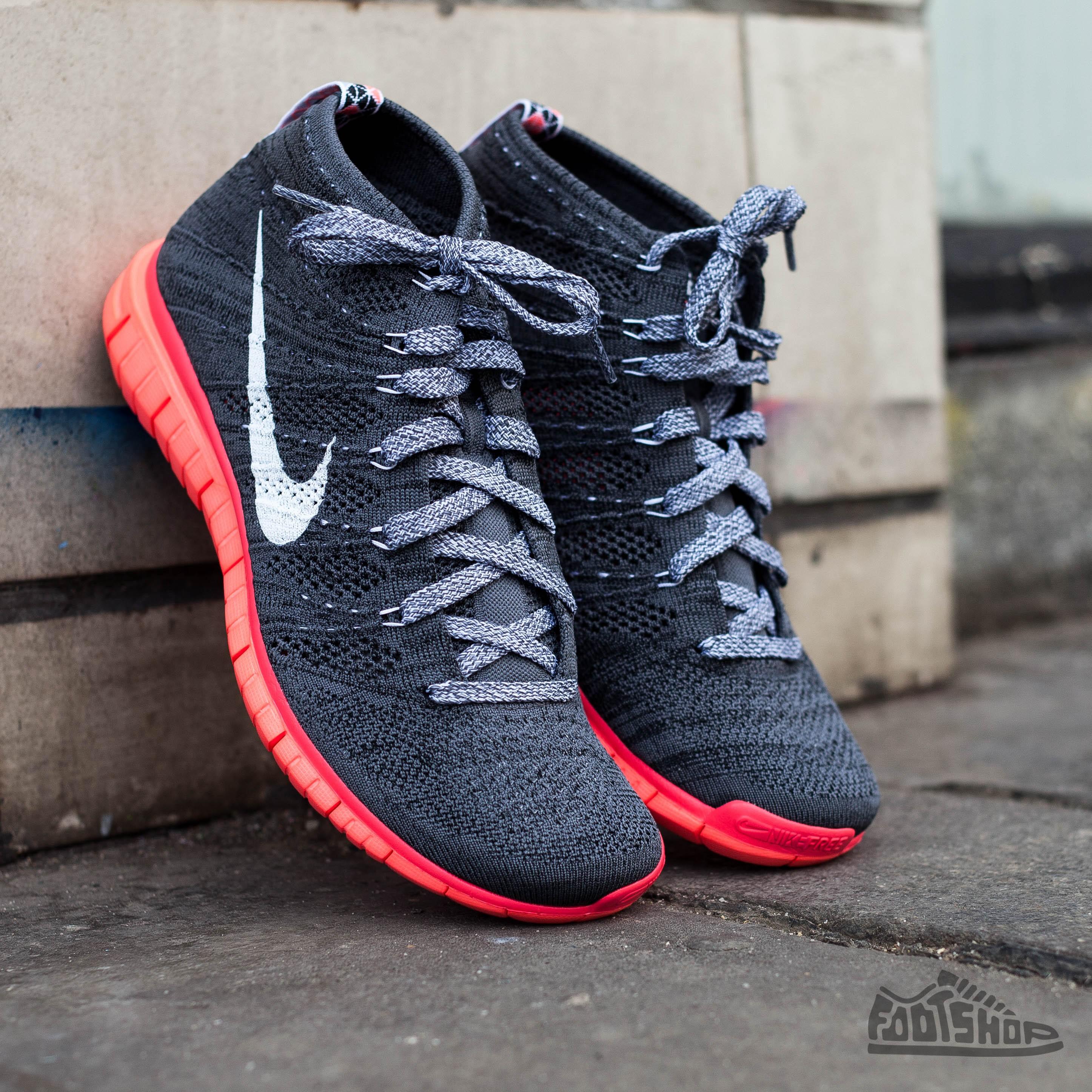 promo code e7172 bf2c3 Nike Free Flyknit Chukka Dark Grey White Black Hot Lava