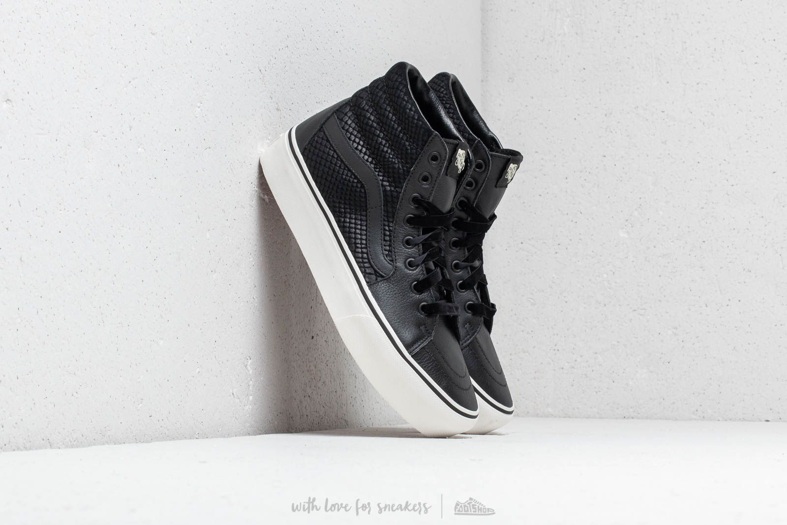 8b04a8e4f2 Vans Sk8-Hi Platform 2 (Leather) Snake  Black
