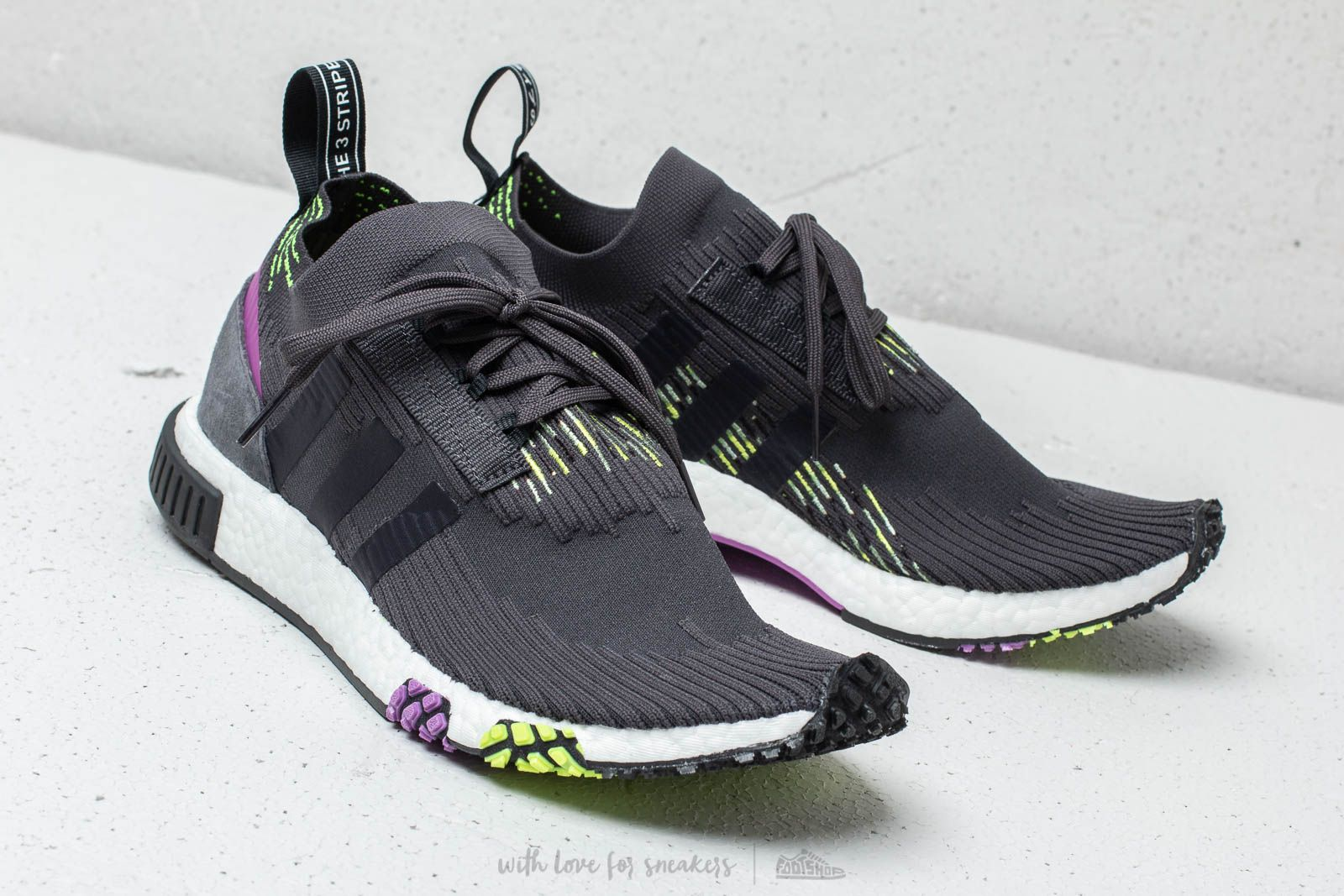 various colors 16349 e1e84 adidas NMD Racer Primeknit Carbon/ Core Black/ Solar Yellow ...