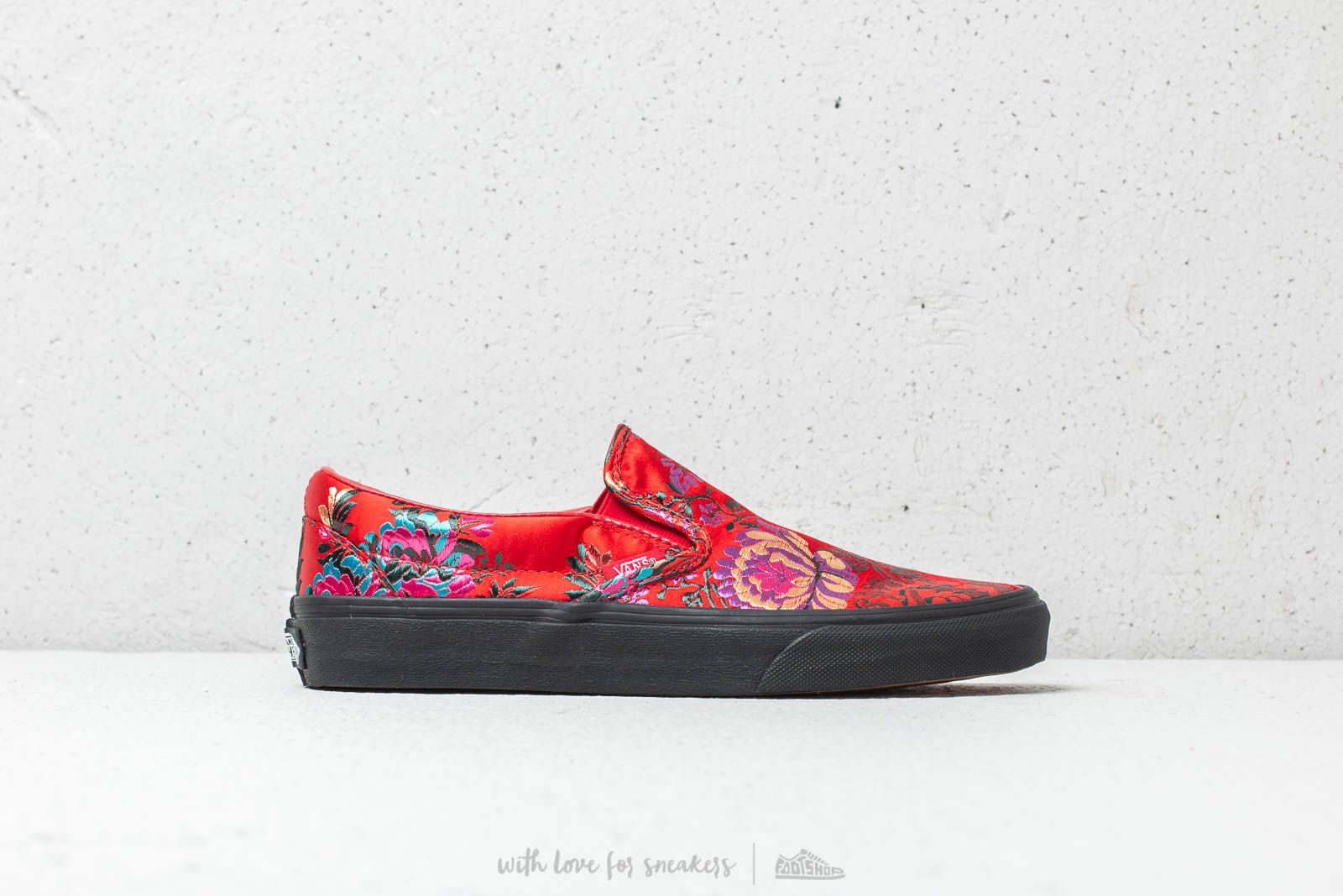 92cec98135a Vans Classic Slip-On (Festival Satin) Red  Black at a great price