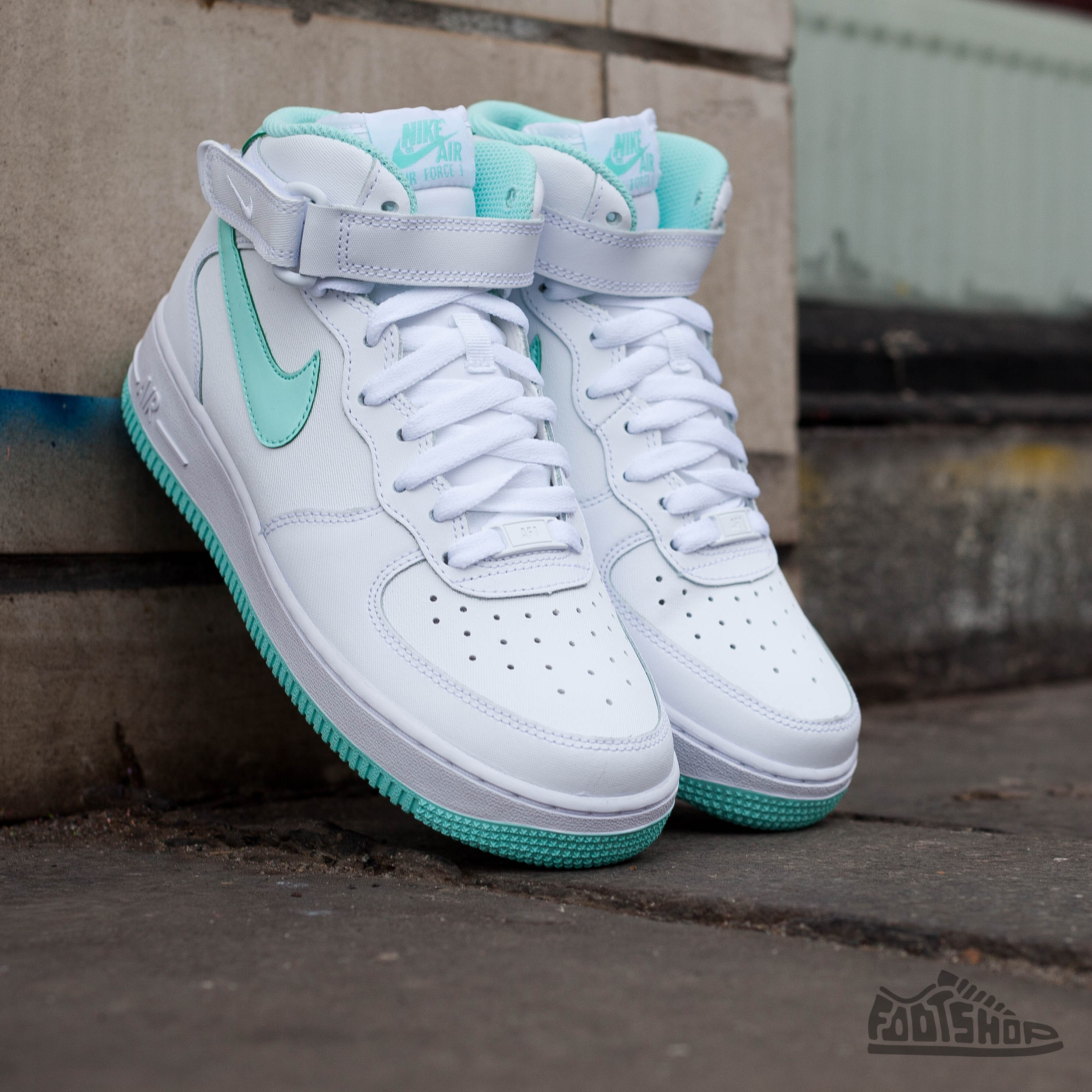 Nike Air Force 1 Mid (GS) White  Artisan Teal  e347c54ee37