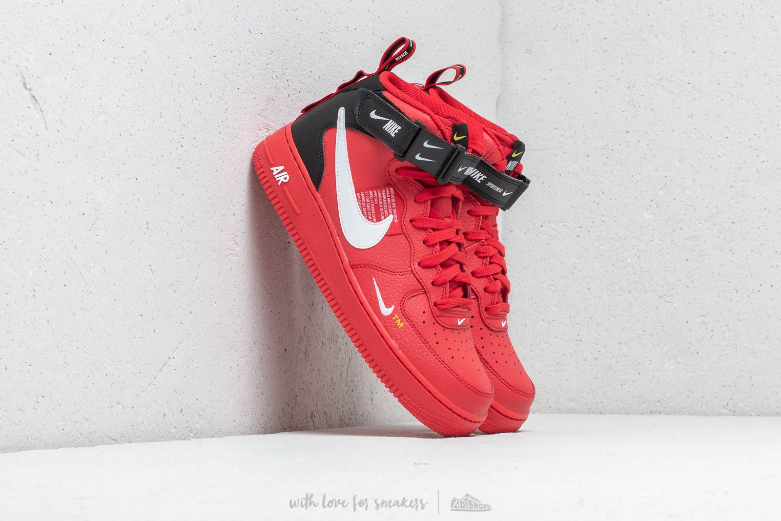 low priced 11f99 d9481 Nike Air Force 1 Mid  07 Lv8 University Red  White- Black