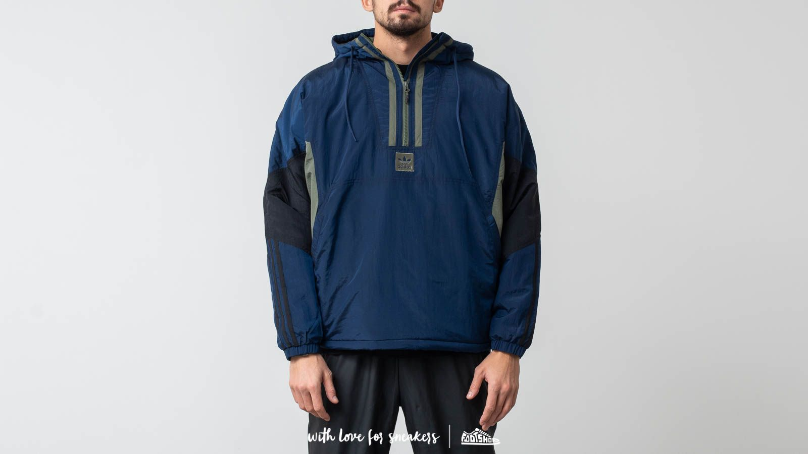 Jackets and Coats adidas Puffy Anorak Jacket Collegiate Navy/ Black/ Base Green
