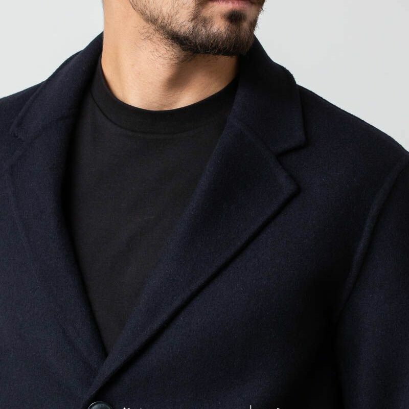 SELECTED Hand Stitched Coat Dark Navy, Black