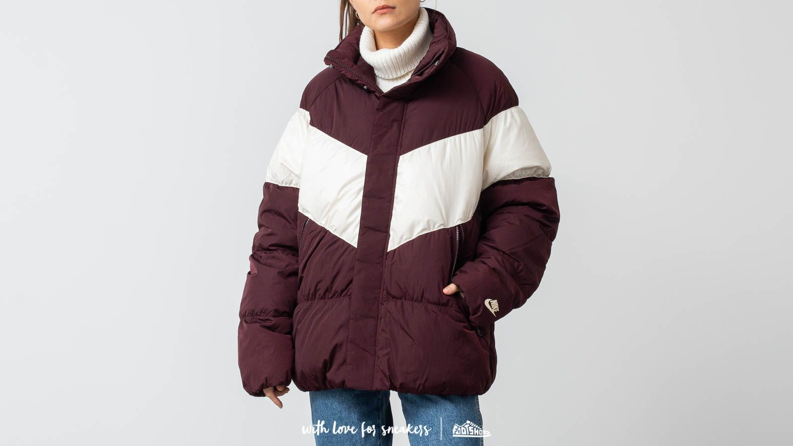 41836f04dedb Nike Nsw Down Fill Jacket Burgundy Crush  Light Cream at a great price £89
