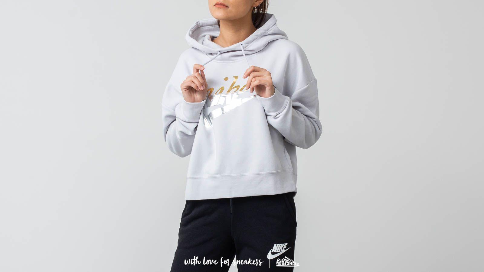 Mikiny a svetry Nike Sportswear Rally Women's Metallic Pullover Hoodie Light Grey
