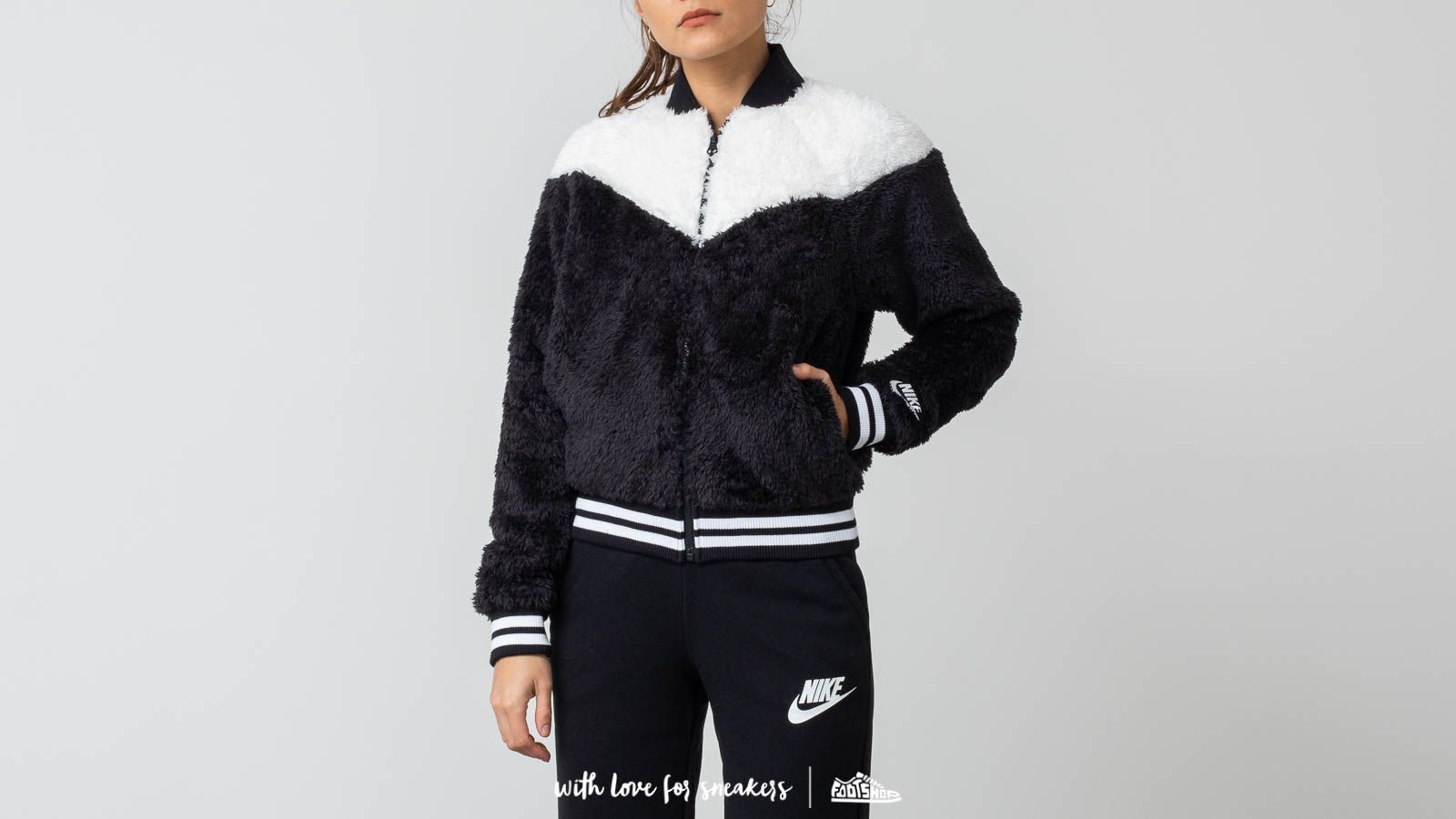 ced694ac7b95e Nike Sportswear Women s Sherpa Bomber Jacket Black  White ...