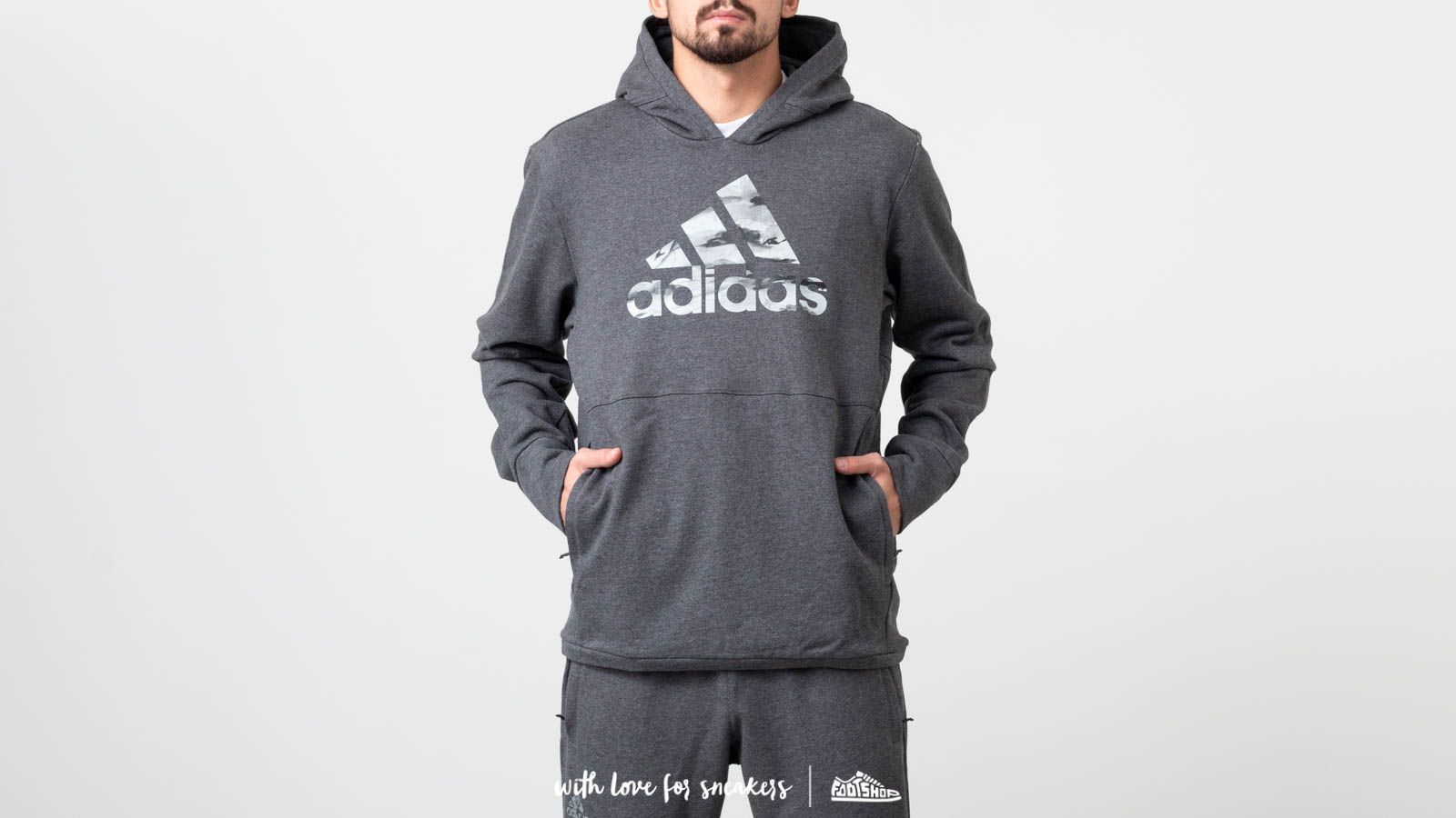 Mikiny a svetry adidas x Undefeated Tech Hoodie Dark Grey Heather