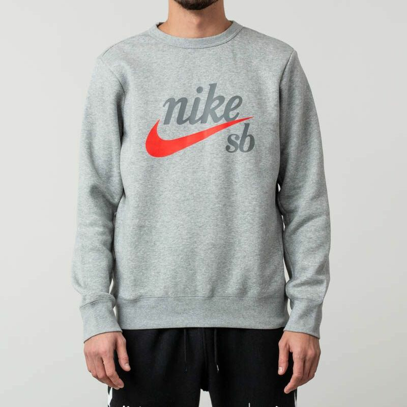 Nike SB Craft Crewneck Sweater Dark Grey Heather/ Habanero Red, Gray
