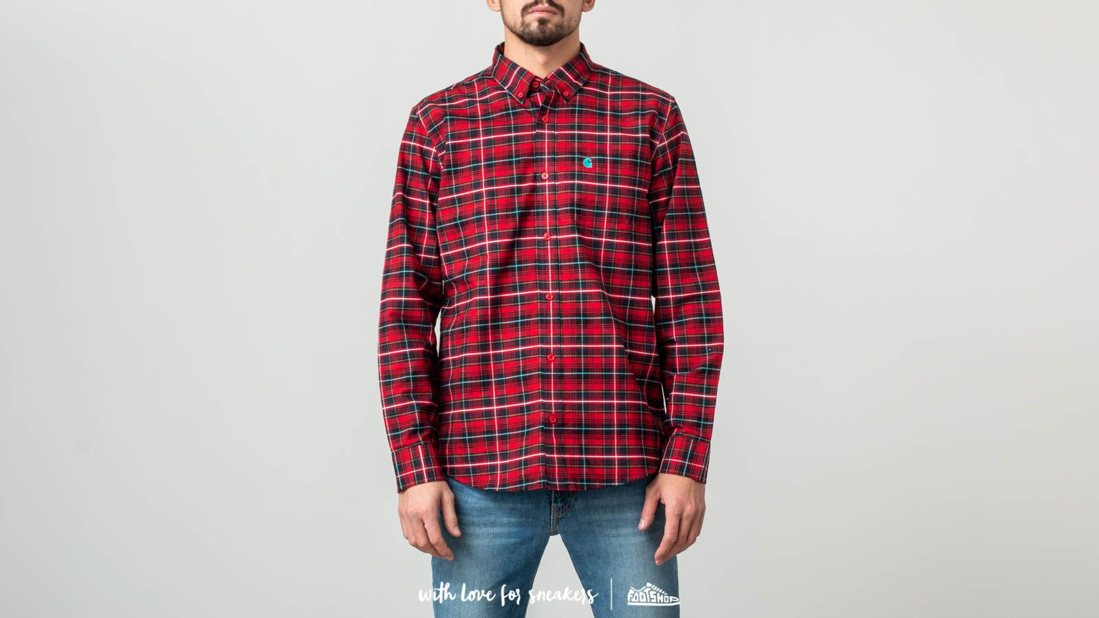 Trička a košile Carhartt WIP Longsleeve Patton Shirt Patton Check/ Blast Red