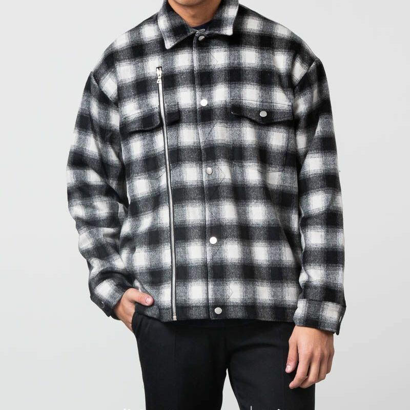 STAMPD Asher Flannel Shirt Jacket Black/ White Plaid, Gray