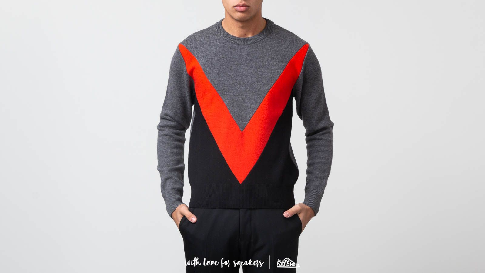 Mikiny a svetry Alexandre Mattiussi Tricolor Crewneck Sweater Grey/ Red