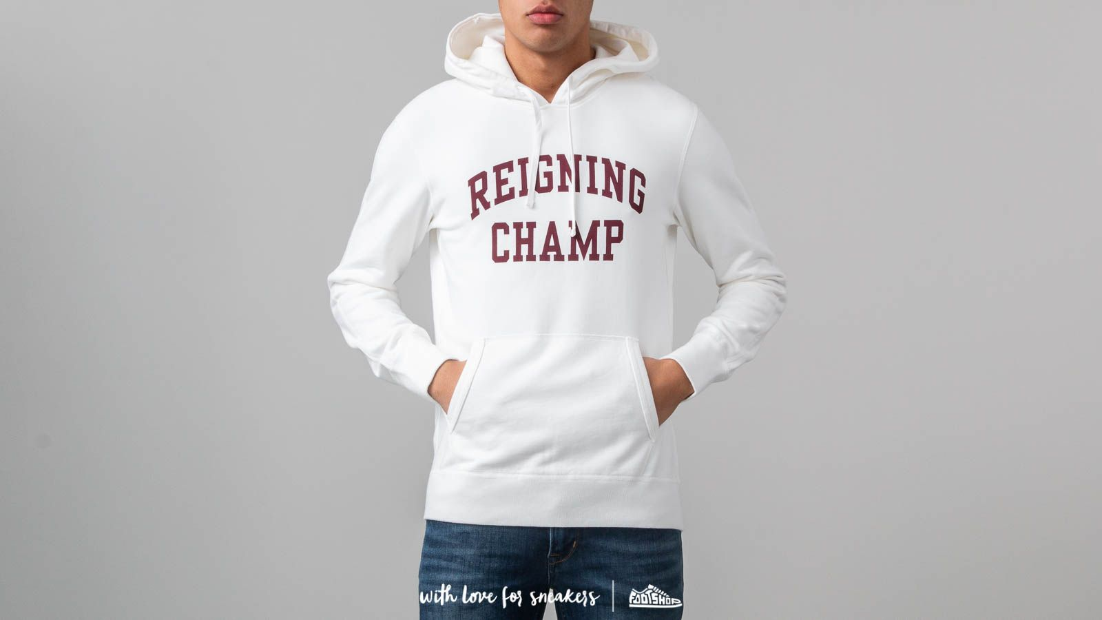 Mikiny a svetry Reigning Champ Ivy League Pullover Hoodie Winter White/ Crimson