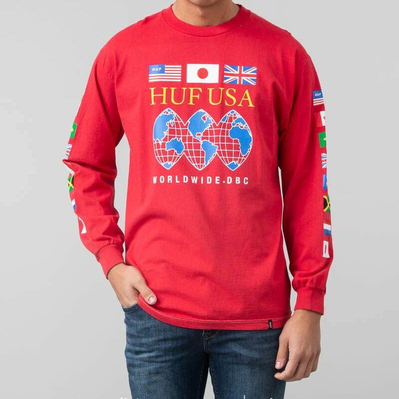 HUF Global Domination Longsleeve Tee Red