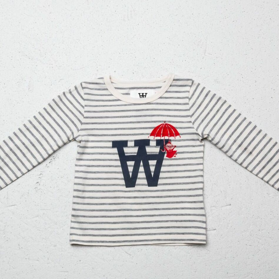 WOOD WOOD x Double A Kim Longsleeves Tee Off White Grey Stripes