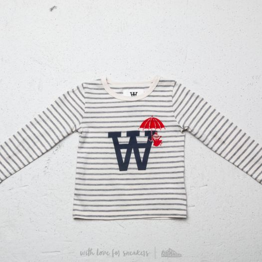 WOOD WOOD x Double A Kim Long Sleeve TeeOff White Grey Stripes