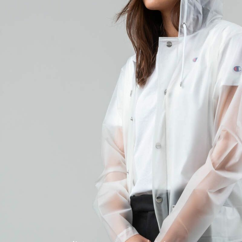 Rains Hooded Coat Foggy White
