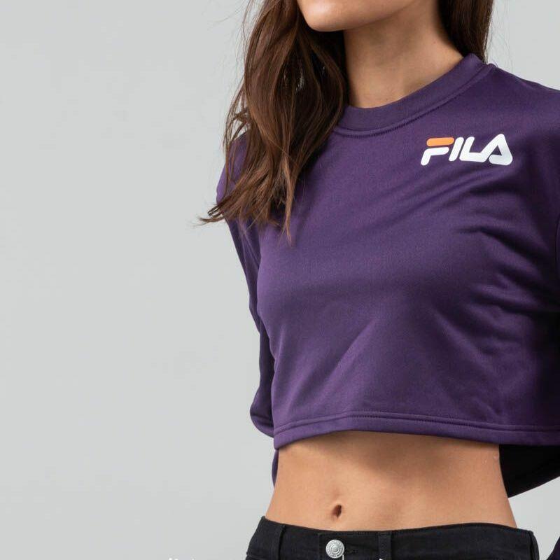 FILA Aurora Flared Snap Sleeve Crop Navy Cosmos, Purple