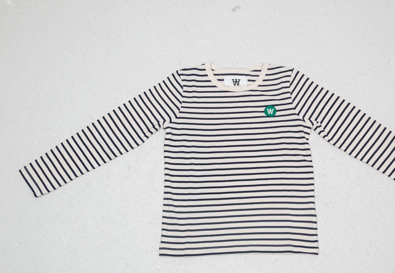 WOOD WOOD Kids Kim Longsleeve Tee Off White Navy Stripes