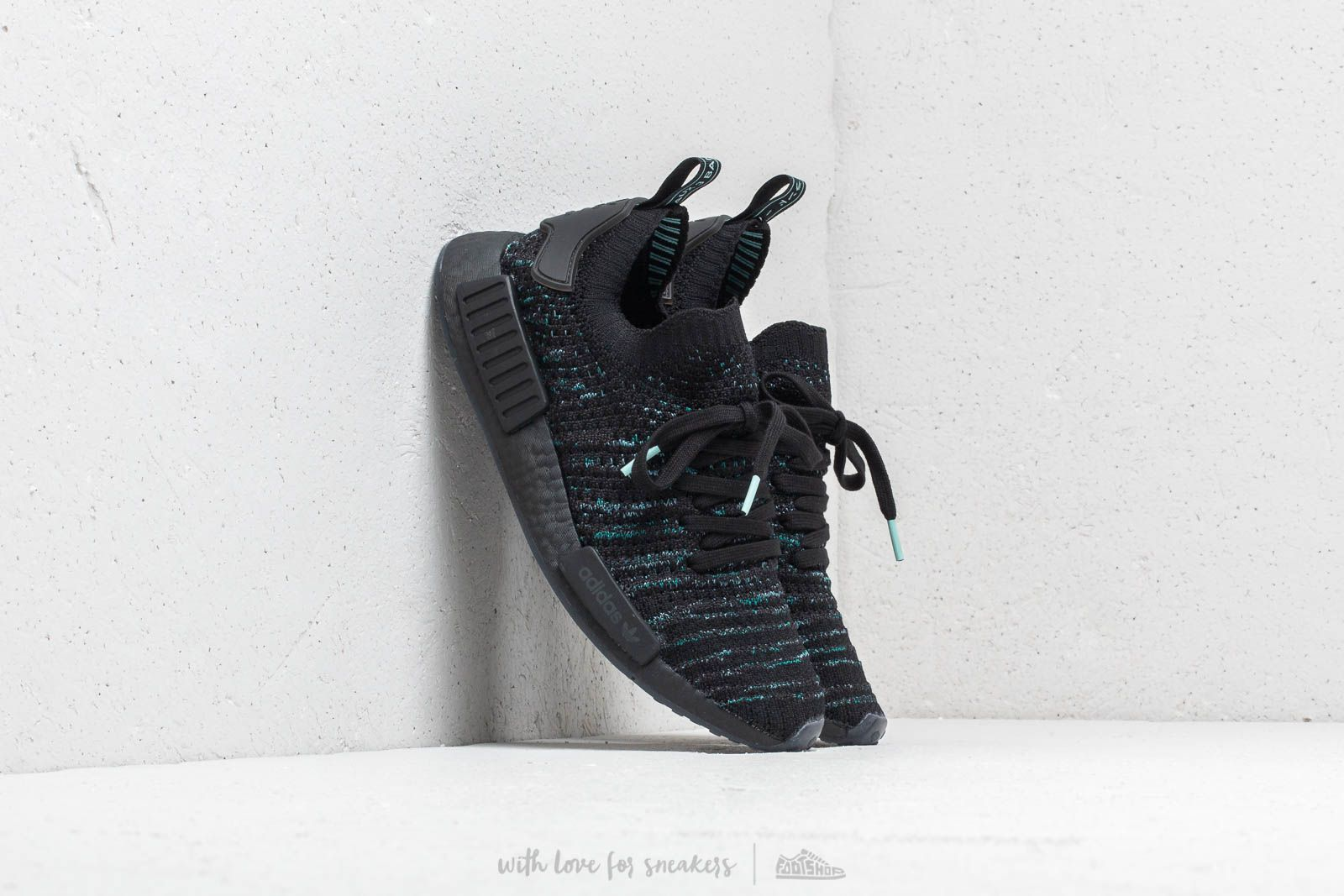 7ae9e424575df adidas x Parley NMD R1 STLT Primeknit Core Black   Blue Spirit   Eqt Green  at a