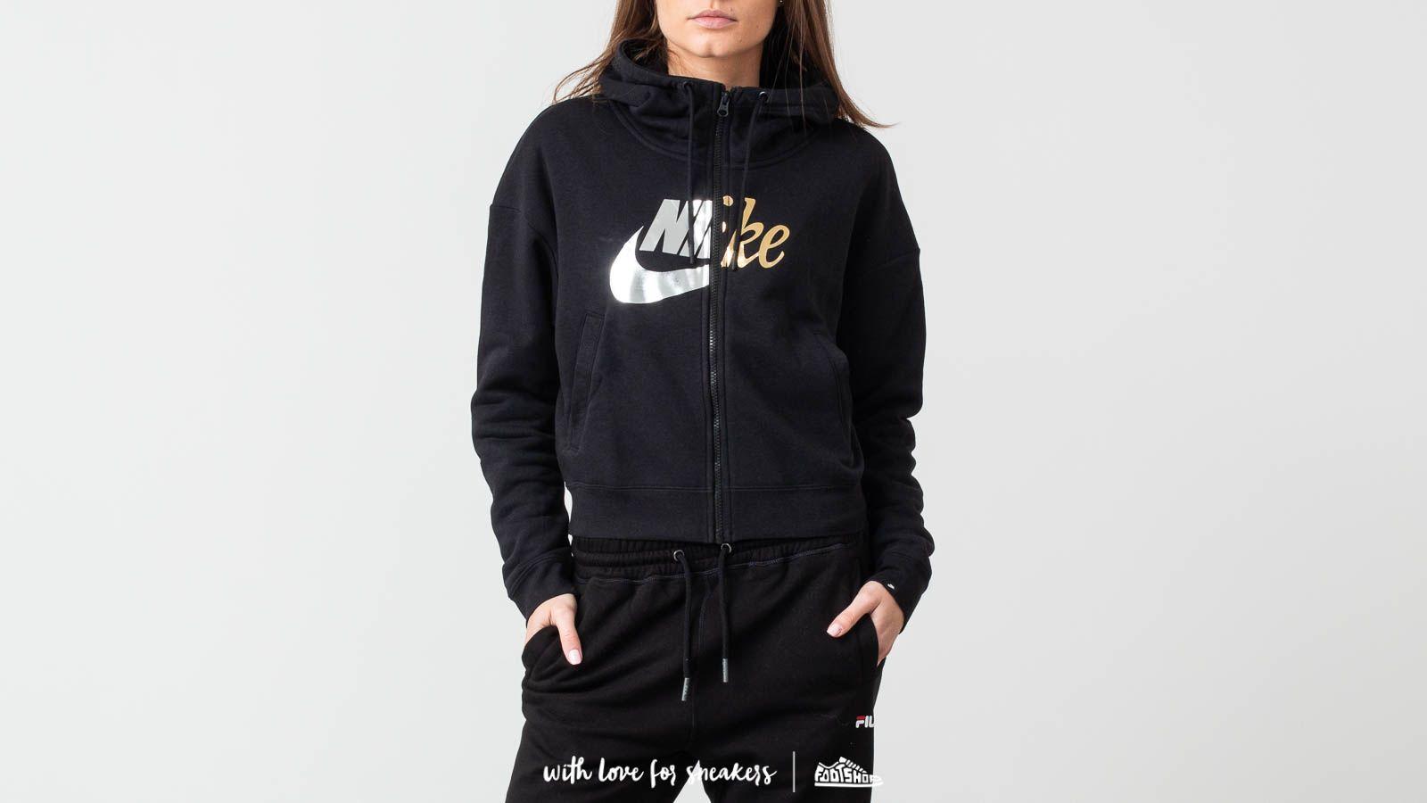 Nike Sportswear Rally Metallic Zip Hoodie Black | Footshop