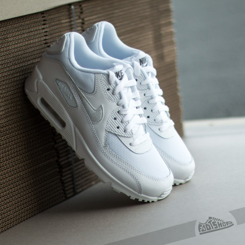 b6b04b5bddf Nike Air Max 90 Mesh (GS) White  White-Cool Grey